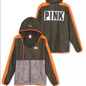 victoria secret pink green windbreaker